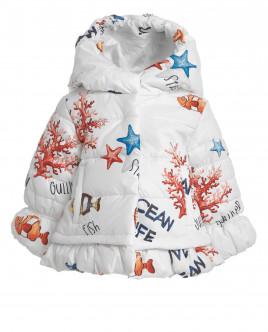 Белое пальто с орнаментом Обитатели океана OUTLET