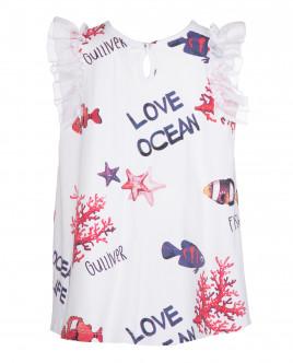 Белое платье с аппликацией OUTLET