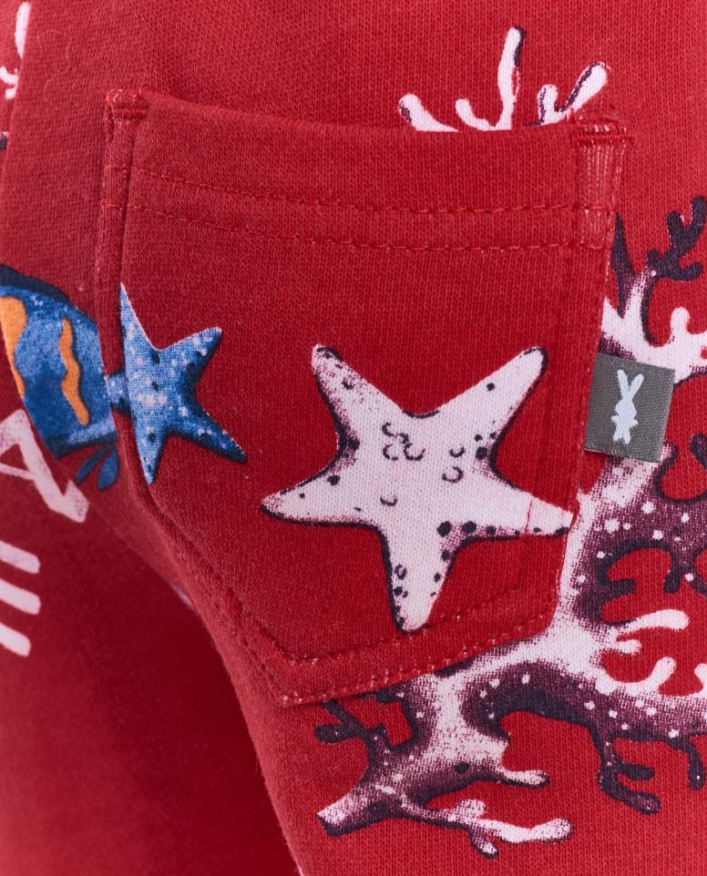Красные брюки с орнаментом Обитатели океана