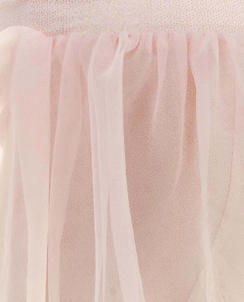 Розовые легинсы с юбкой из сетки