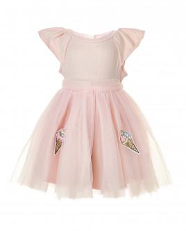 Розовое платье с юбкой из сетки OUTLET