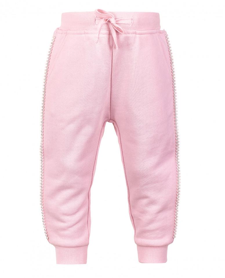 Розовые брюки из футера с золотистым напылением