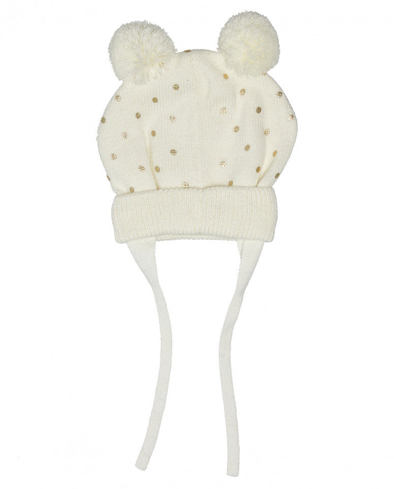 Вязаная шапка на подкладке с помпонами