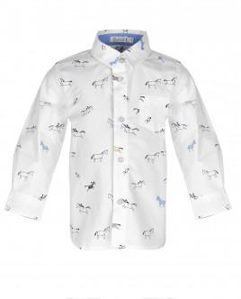 Белая рубашка с орнаментом Наездник OUTLET