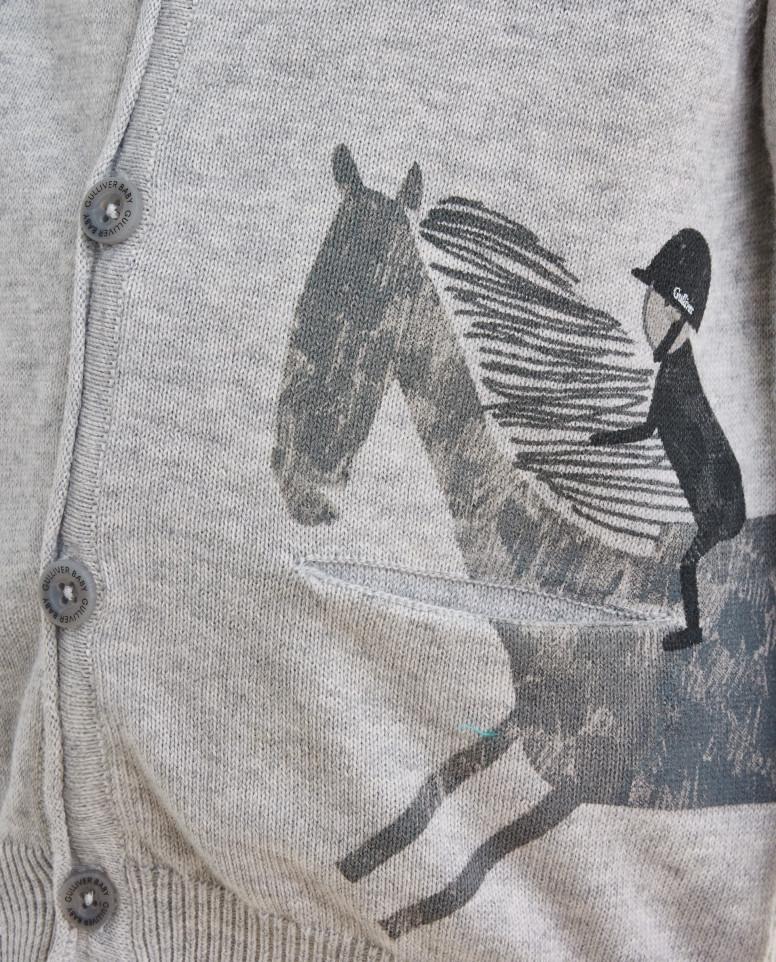 Серый вязаный кардиган