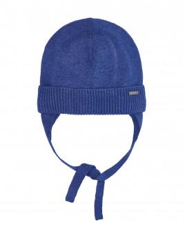 Синяя вязаная шапка на подкладке OUTLET