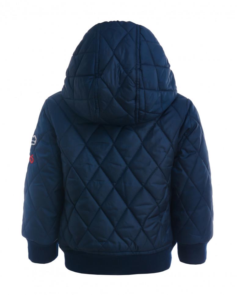 Синяя стеганая куртка-бомбер