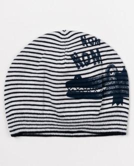 Полосатая вязаная шапка с рисунком OUTLET