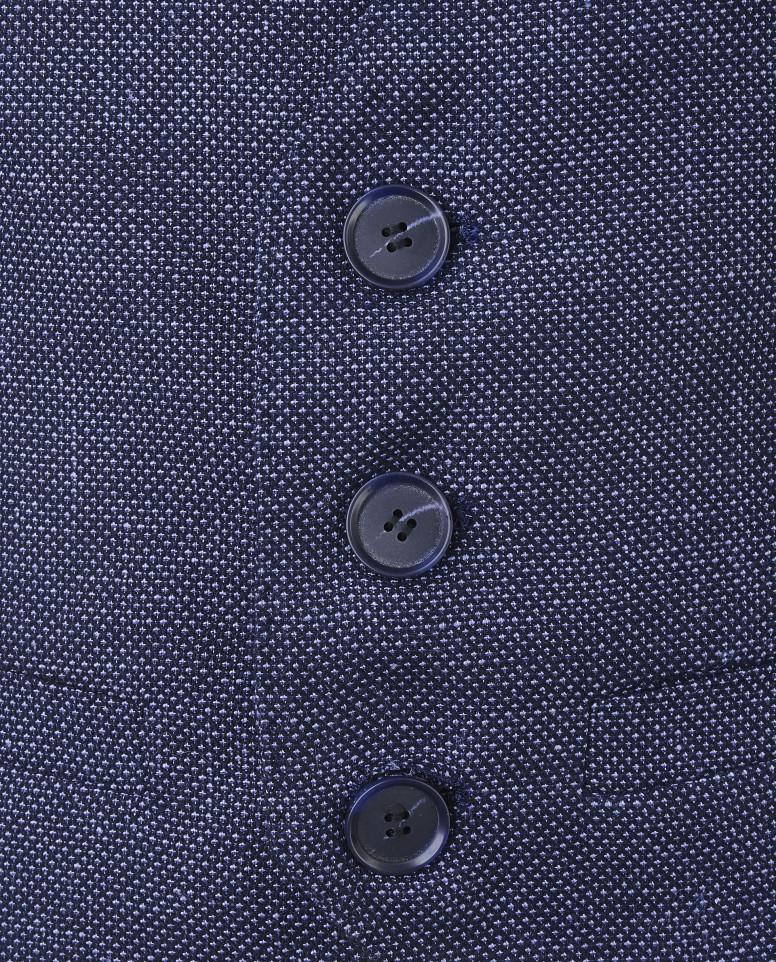 Синий льняной жилет