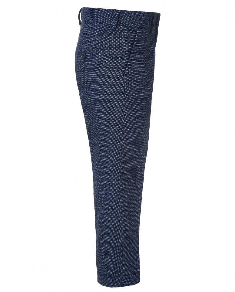 Синие зауженные брюки с манжетами