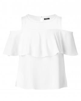 Белая блузка с воланом OUTLET