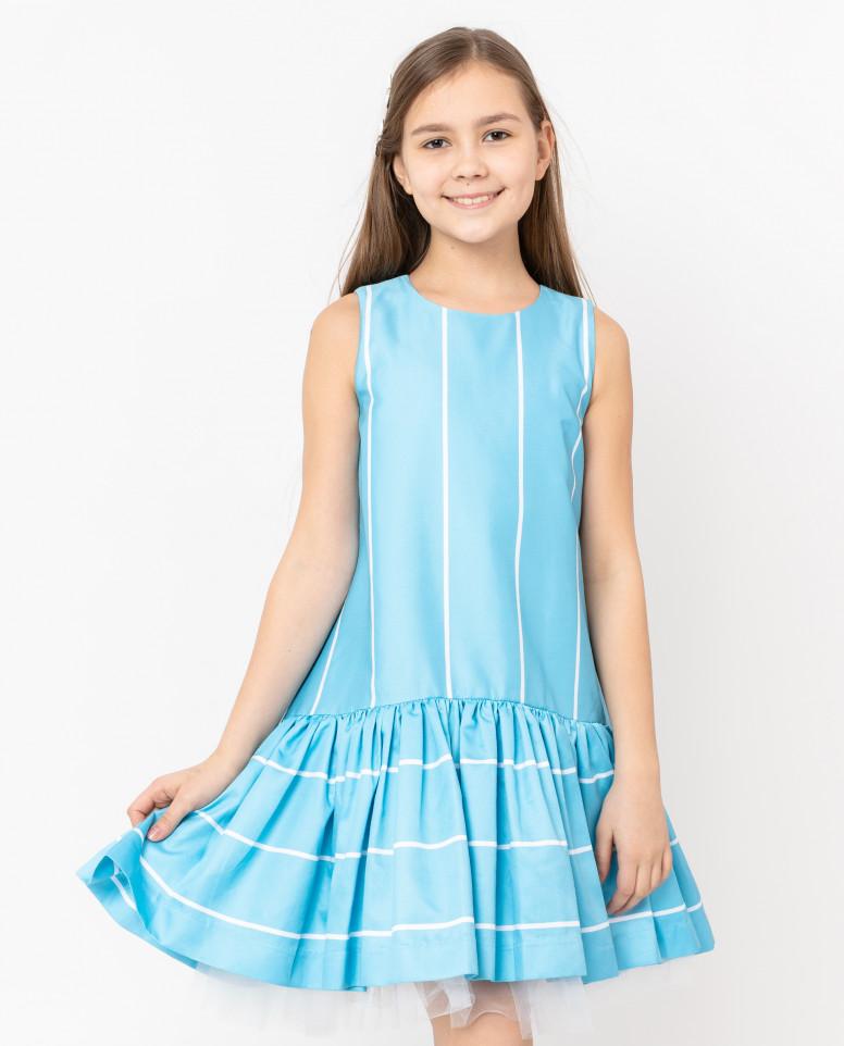 Бирюзовое платье в полоску
