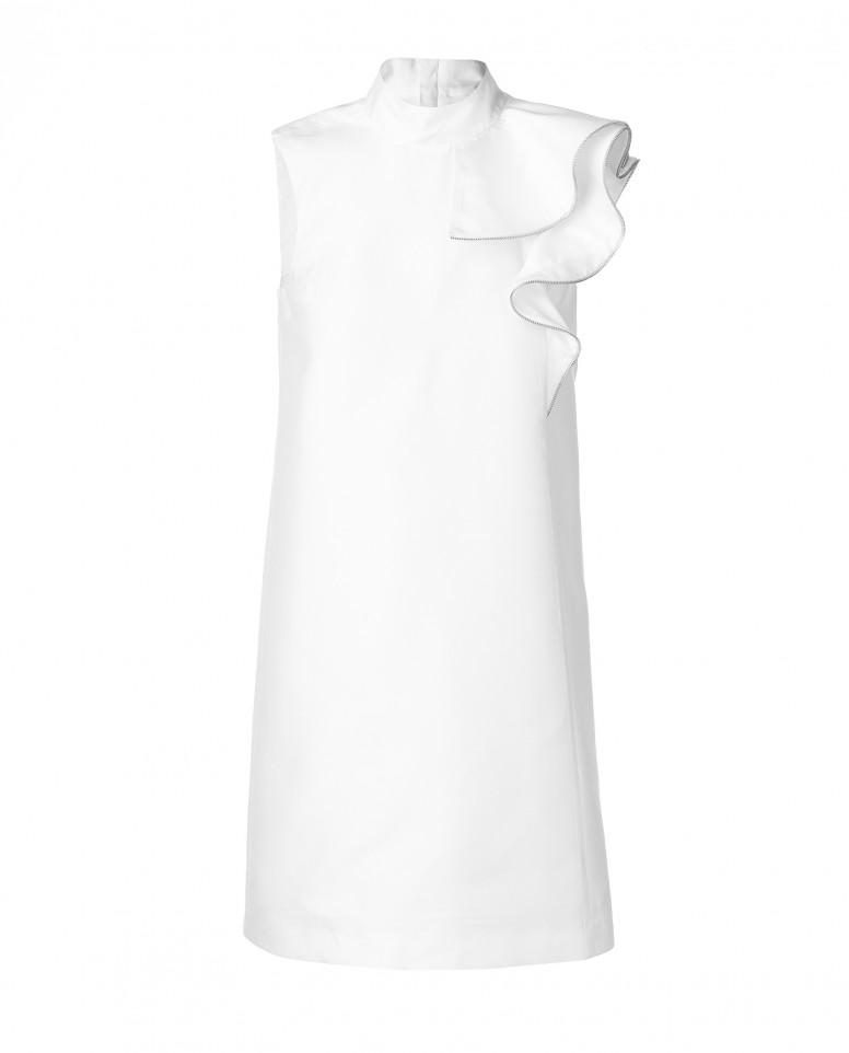 Белое платье с ассиметричным воланом
