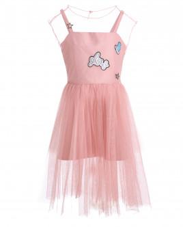 Розовое многослойное платье OUTLET