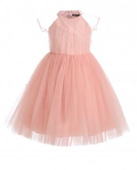 Розовое нарядное платье из сетки OUTLET