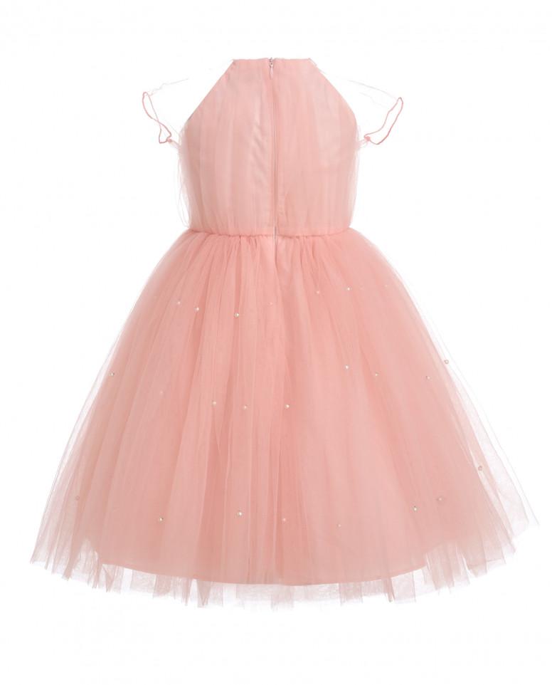 Розовое нарядное платье из сетки