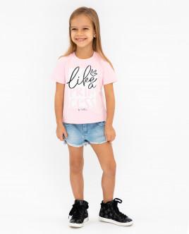 Розовая футболка с принтом 12001GMC1205 фото