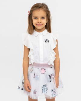Белая блузка с коротким рукавом Gulliver Gulliver Wear 12001GMC2202 белого цвета