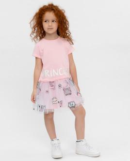 Купить 12001GMC5002, Розовое платье с принтом, Gulliver Wear, розовый, 110, Женский
