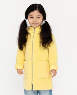 Желтое драповое пальто
