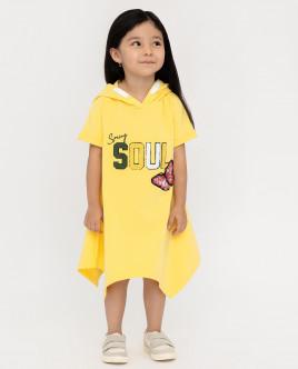 Купить 12002GMC5004, Желтое платье с капюшоном, Gulliver Wear, желтый, 110, Женский
