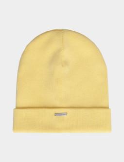 Желтая шапка с завязками