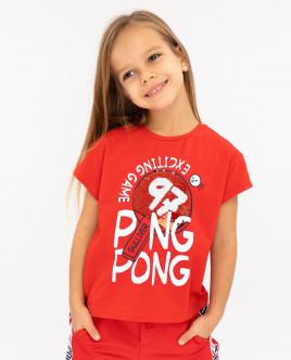 Купить 12003GMC1210, Красная футболка с принтом, Gulliver Wear, красный, 122, Женский