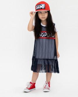 Купить 12003GMC5006, Комплект:верхнее платье + нижнее платье, Gulliver Wear, синий, 110, Женский