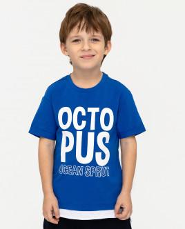 Купить 12004BMC1204, Синяя футболка с принтом, Gulliver Wear, синий, 110, Мужской