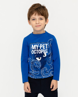 Купить 12004BMC1220, Синяя футболка с длинным рукавом, Gulliver Wear, синий, 110, Мужской