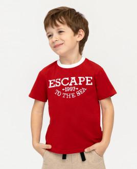 Купить 12005BMC1217, Красная футболка с принтом, Gulliver Wear, красный, 122, Мужской