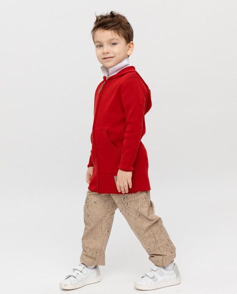 Красный кардиган с капюшоном