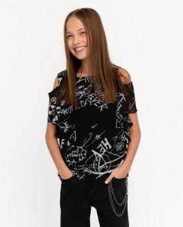 Черная блузка с принтом Gulliver Gulliver
