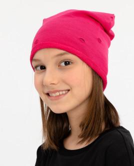 Розовая трикотажная шапка