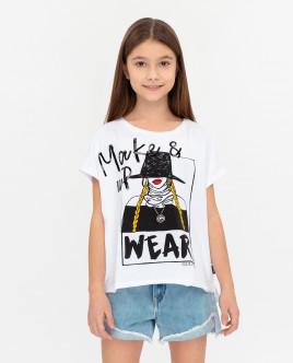 Купить 12008GJC1217, Белая футболка с принтом, Gulliver Wear, белый, 146, Женский