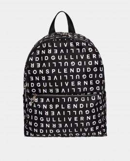 Черный рюкзак с принтом Gulliver