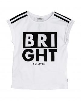Купить 12009GJC1211, Белая футболка с принтом, Gulliver Wear, белый, 146, Женский