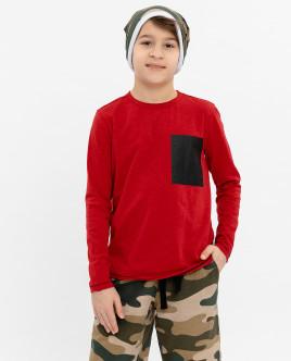 Красная футболка с длинным рукавом 12010BJC1203 фото