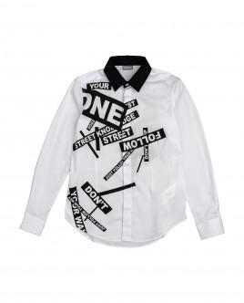 Белая рубашка с принтом 12011BJC2303 фото
