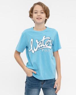 Голубая футболка с принтом 12012BJC1215 фото