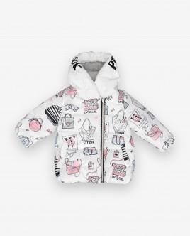 Купить со скидкой Белая демисезонная куртка с принтом