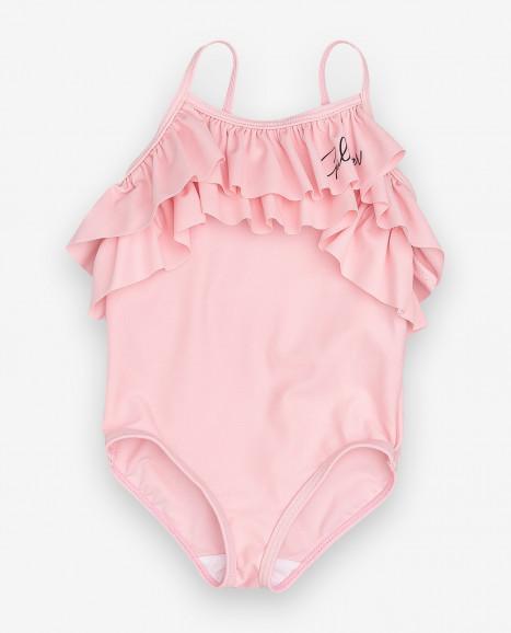 Розовый слитный купальник