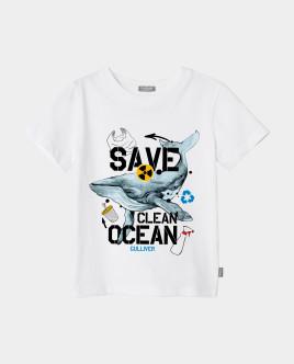 Футболка Save Clean Ocean для мальчика Gulliver Gulliver Wear 120FBJC1203 белого цвета