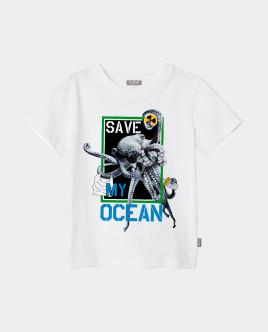 Футболка Save My Ocean для мальчика Gulliver Gulliver Wear 120FBJC1206 белого цвета