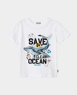 Футболка Save Clean Ocean для мальчика Gulliver Gulliver Wear 120FBMC1203 белого цвета