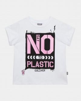 Футболка Say No To Plastic для девочки Gulliver Gulliver Wear 120FGJC1201 белого цвета