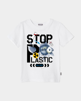 Купить 120FGJC1203, Футболка Stop Plastic для девочки Gulliver, Gulliver Wear, белый, 134, Женский