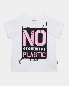 Футболка Say No To Plastic для девочки Gulliver