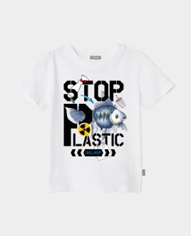 Футболка Stop Plastic для девочки Gulliver Gulliver Wear 120FGMC1203 белого цвета