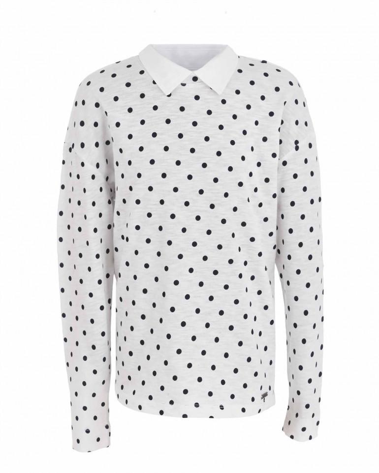 Блузка в горошек с отстегивающимся воротником
